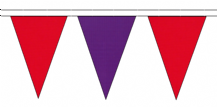 RED AND PURPLE TRIANGULAR BUNTING - 10m / 20m / 50m LENGTHS